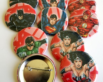 10 Upcycled Superhero Buttons - Superhero Party Favors - Superhero Birthday Party -  Superhero Guest Favors - Superhero Party Buttons