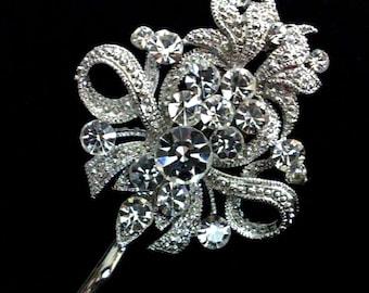 Wedding Hair Pin, Fleur De Lis Pin, Bridal Hair Pin, Bridal Headpiece, Swarovski Crystal Bridal Hair Jewelry, Bridesmaid Gift for Her, ROYCE