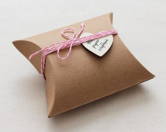 Small Kraft Pillow Boxes Candy Gifts Favours Rustic Packaging  - Pack of 20