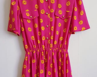 Vintage 80s pink mini dress | bright pink with yellow pattern | pleated shirt dress