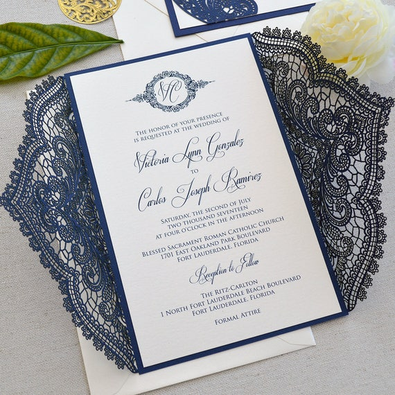 NAVY CHANTILLY LACE Laser Cut Wrap Invitation - Navy Laser Cut Wedding Invitation with Ivory Shimmer Insert and Ivory Ribbon Bow