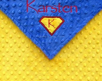 Superman Inspired Baby Blanket , Personalized Name Custom Embroidered Blanket for Boys , Super Hero Minky Blanket for Toddler Boy , 36x40