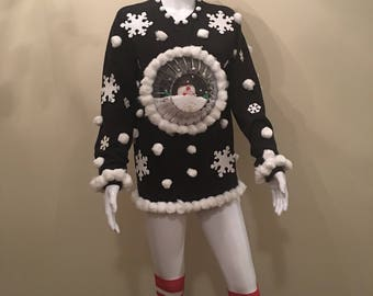 """Hand Made Ugly Christmas Sweater """"Snow Globe"""" Assorted Sizes"""