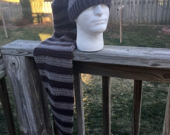 Super long hat, stocking cap, scarf hat combo, scarf and hat