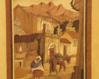 Inlaid Wood Picture Marquetry Inlay Handmade In Bolivia Native Tapestry Art  South America Town Street Scene Mountains Woman Wooden Frame