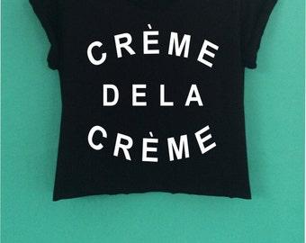 CREME DELA CREME style  crop top have a  screen design handmade size S - M-L.