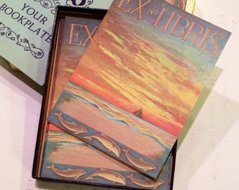 """Vintage Antioch Bookplate 50 labels """"Sunset With Dolphins Ex Libris"""" Made in USA"""