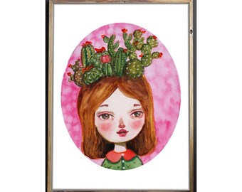 THE OTHER CACTUS girl by Danita Obsessed with cacti I had to do a self portrait with one of my favorite obsessions in a watercolor painting