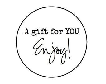"A gift for you - 60- 1"" Kraft // white // tan - Enjoy Stickers"