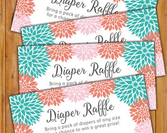 Floral Diaper Raffle Card for Baby Shower Pink Teal Coral Flowers Invitation Inserts Printable PDF--Instant Download