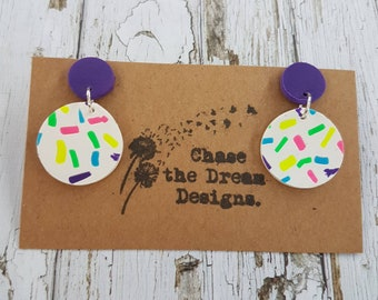 Rainbow sprinkles Clay Dangles