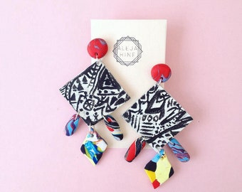 Hand painted earrings, polymer clay earrings, abstract art earrings, unique earrings, reversible earrings