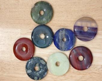 "2"" Stone Doughnut Pendant Beads Big Focal. (jasper, fuorite lapis lazuli serpentine boho bohemian supplies gemstone pagan earthy hippie)"