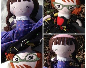 Topsy Turvy Doll - Teacher Doll - Schoolgirl Doll - Storytelling Doll - Cloth Doll - Handmade Doll - Rag Doll