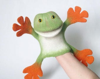 The Funny Frog hand puppet, MADE TO ORDER