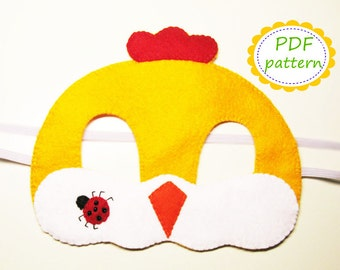 PDF PATTERN Chicken felt mask sewing tutorial instruction DIY Yellow handmade Easter costume accessory for boys girls adults Dress up play