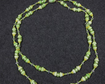 Vintage Glass Bead Necklace Retro 50s 60s Lime Green Iridescent Metal Double Strand