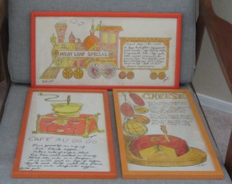 1960s 3pc Set of Kitchen Artwork by Pati and Jacque, Soovia Janis, Inc.