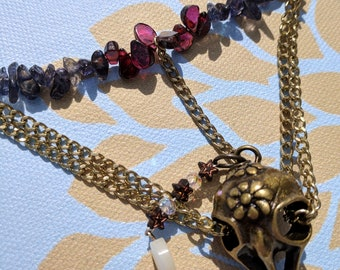 Cailleach Necklace - Raven Bird Skull Wiccan Garnet Witch Chain Statement Necklace
