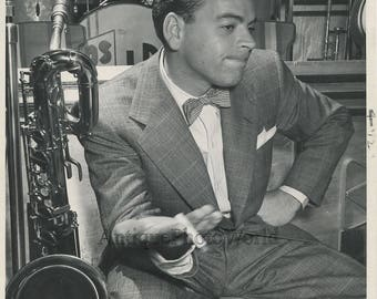 Les Brown orchestra leader by saxophone antique jazz music photo