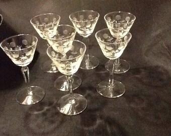 Beautiful Vintage Set of 7 CrystalCherry Floral Etched Cordial Glasses -Wine Glasses-Wedding Glasses