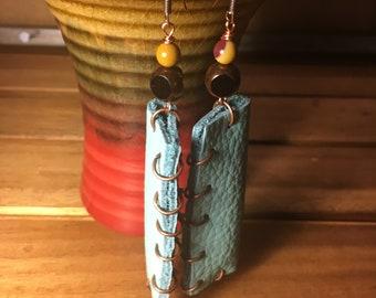 Aqua Leather Earrings