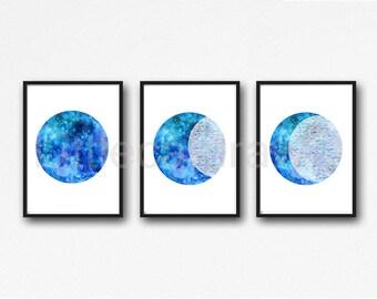 Blue Moon Phases Set of 3 Prints Watercolor Painting Print Moon Print Bedroom Decor Moon Wall Decor Luna Lunar Home Decor Art Unframed