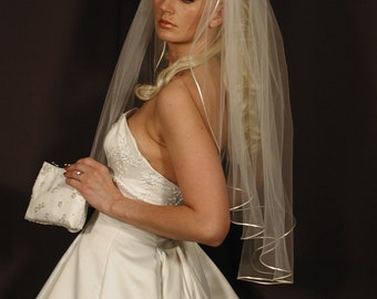 "wedding veil 34"" long - past elbow length with satin ribbon corded 1/8"" - rattial ribbon wedding veil"