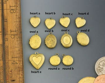 Mini Locket. Vintage brass. Hearts, oval, rounds. Beadwork, Jewelry making, Jewelry supply. Keepsake, charms, pendants.