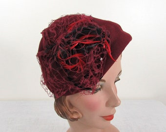 Vintage 40s-50s Burgundy Tilt Hat trimmed with feathers, rhinestones & netting