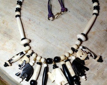 """Elephants and Other Bone Beads, Necklace, 21"""""""