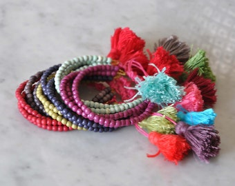 Boho Bracelets with Tassels,  Gypsy Beaded Bracelets,  Bohemian Arm Candy Bracelets