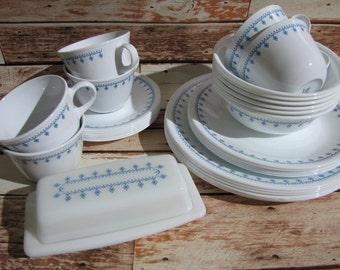 Snowflake Blue Corning Dinner Lunch Plates Bowls w Mugs~ Butter Dish~ Corelle Gemco Shakers Vintage Coffee Tea Pyrex Cups Retro Dinnerware & Corelle snowflake   Etsy