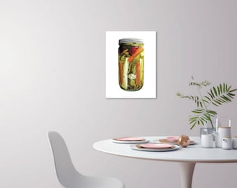 Tourshi (Mixed Pickles) - 18x24 Watercolor Pickled Vegetables Canning Pickling Kitchen Large Scale Poster - Oversized Print Statement Art