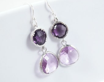 Purple Amethyst Earrings Lavender Glass Sterling Silver