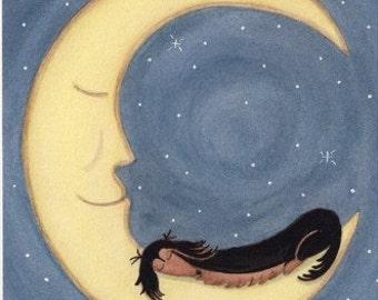 Black and tan longhaired dachshund (doxie) sleeping on the moon / Lynch signed folk art print