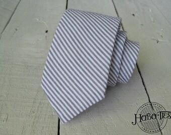 Gray Seersucker Necktie~Anniversary Gift~Wedding Tie~Necktie~Mens Gift~Boys Necktie~Mens Necktie~Mint Necktie~Seersucker Wedding