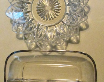 Vintage Pair of Glass Serving Dishes