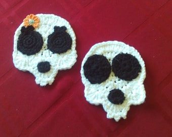 Skeletons,Halloween,Crocheted,Set of 2,Applique,Decor,Holiday,Party,Decorations