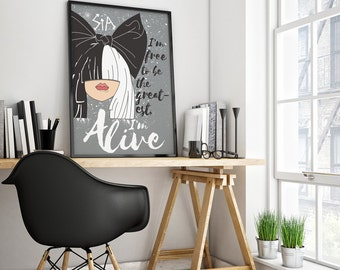 Sia The Greatest Print, Sia Poster, Song Lyric Art, Sia Ilustration, Printable Art, The Greatest, This is Acting