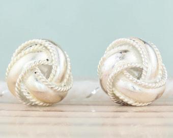 Vintage Sterling Silver Earrings, Stud Earrings, Vintage Stud Earrings, Rustic Jewelry, Celtic Love Knot, Rope Knot Earring