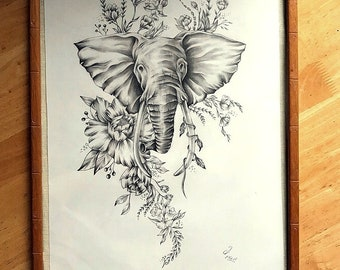 Floral Elephant Portrait Graphite Pencil Illustration Wall Art Gift Decor Framed A3 Spirit Animal Collection