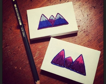 Tiny Freehand Embroidery Mountains on Canvas