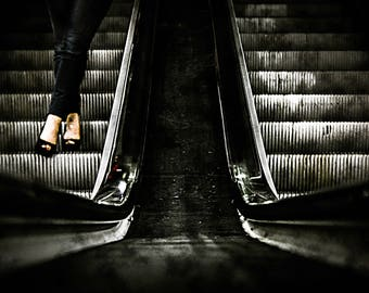 Escalator With Woman-printable photography download Instant download Wall Art Photography