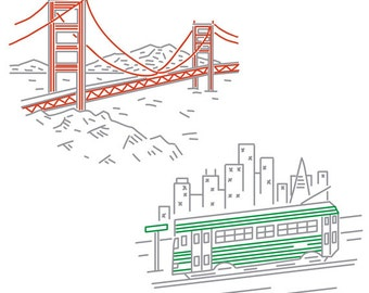 San Francisco PDF Embroidery Pattern Pack 1