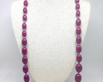 Vintage Estate Purple Beaded Silver Tone Gorgeous Necklace