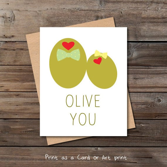 olive you funny valentine card download cute anniversary love