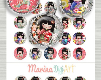 Washi doll Digital collage sheet 25mm for jewelery making, bottle caps, magnet, pendants