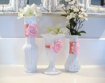White vases, shabby chic nursery, nursery decor, pink flower vase, painted vases, bridal shower decor