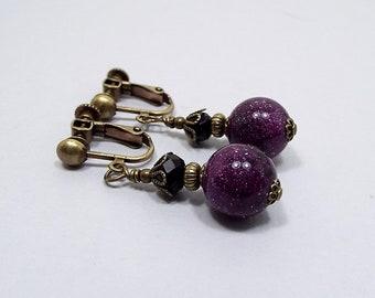 Clip on Earrings, Purple Earrings, Glitter Beaded, Dark Purple, Antiqued Brass, with Vintage Lucite Beads, Black and Purple,